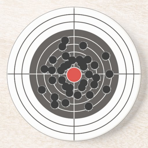 Bullet holes in target - but not the bulls-eye! drink coaster