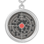 Bullet holes in target - but not the bulls-eye! round pendant necklace
