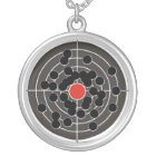 Bullet holes in target - but not the bulls-eye! silver plated necklace