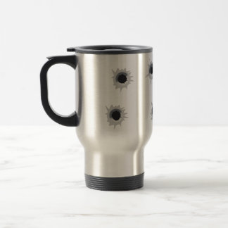 Bullet Holes in Trompe L'oeil Funny Travel Mug