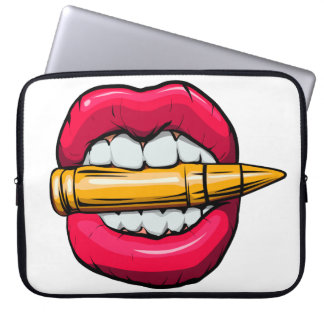 bullet in mouth. computer sleeve