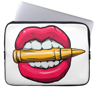 bullet in mouth. laptop sleeve