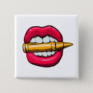 bullet in mouth. pinback button