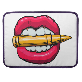 bullet in mouth. sleeve for MacBook pro