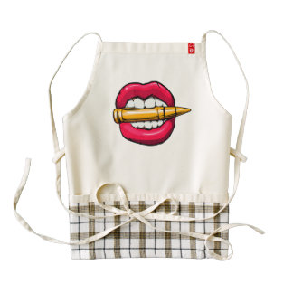 bullet in mouth. zazzle HEART apron
