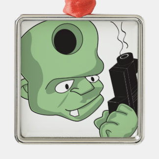 Bullet in the Head Square Metal Christmas Ornament