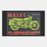 Bullet Match Works Vintage Label Rectangular Sticker