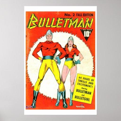 Vintage Comic Book Cover Posters : Bulletman vintage comic book cover poster zazzle