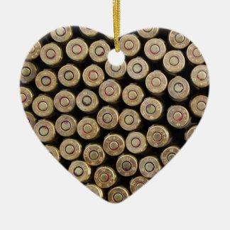 Bullets, ammunition Double-Sided heart ceramic christmas ornament