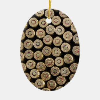 Bullets, ammunition Double-Sided oval ceramic christmas ornament