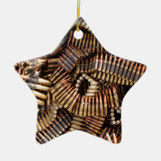 Bullets, ammunition Double-Sided star ceramic christmas ornament