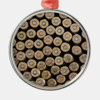Bullets, ammunition round metal christmas ornament