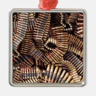 Bullets, ammunition square metal christmas ornament