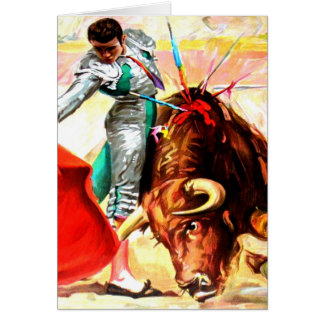 Bullfight Bull Fight Vintage Poster Art Blank Note Card