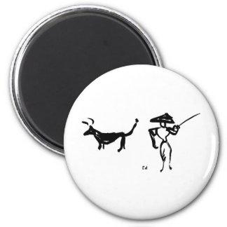 Bullfighter and Bull Fridge Magnets