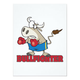 bullfighter funny boxer bull cartoon character 6.5x8.75 paper invitation card