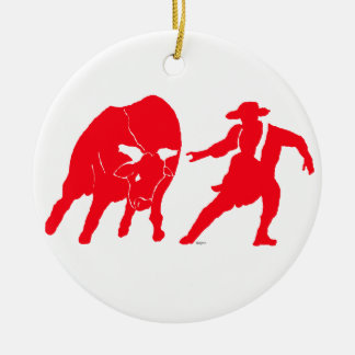 BullfighterRed Double-Sided Ceramic Round Christmas Ornament