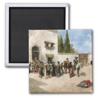 Bullfighters preparing for the Fight (oil on panel 2 Inch Square Magnet