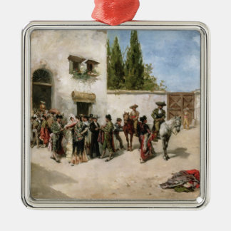 Bullfighters preparing for the Fight (oil on panel Metal Ornament