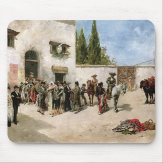 Bullfighters preparing for the Fight (oil on panel Mouse Pad