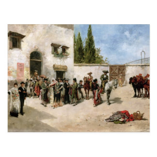 Bullfighters preparing for the Fight (oil on panel Postcard