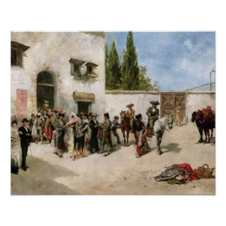 Bullfighters preparing for the Fight (oil on panel Poster