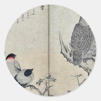 Bullfinch and horned owl by Kitagawa, Utamaro Classic Round Sticker