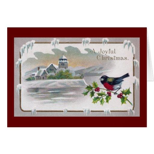 Bullfinch en navidad del vintage del acebo tarjeta de felicitación