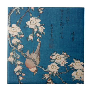 Bullfinch on a Weeping Cherry Branch by Hokusai Ceramic Tile