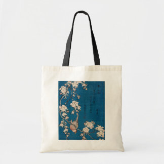 Bullfinch on a Weeping Cherry Branch by Hokusai Tote Bag