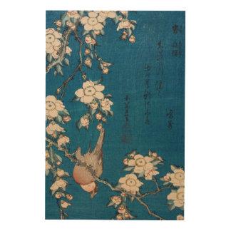 Bullfinch on a Weeping Cherry Branch by Hokusai XL Wood Wall Decor