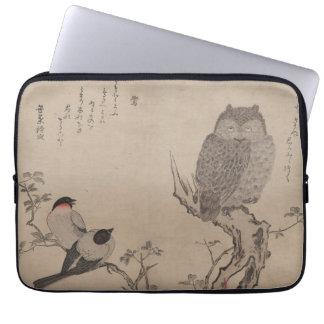 Bullfinch y búho de cuernos - Kitagawa Utamaro Fundas Computadoras