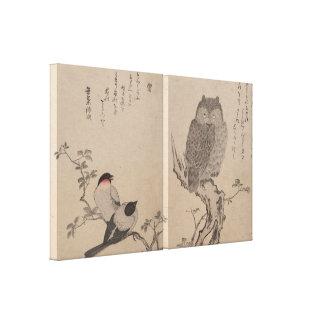 Bullfinch y búho de cuernos - Kitagawa Utamaro Impresiones En Lona