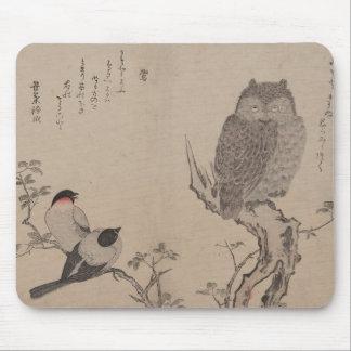 Bullfinch y búho de cuernos - Kitagawa Utamaro Alfombrilla De Ratones