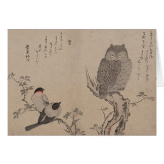 Bullfinch y búho de cuernos - Kitagawa Utamaro Tarjeton