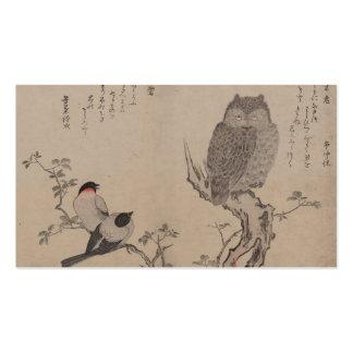 Bullfinch y búho de cuernos - Kitagawa Utamaro Plantillas De Tarjetas Personales