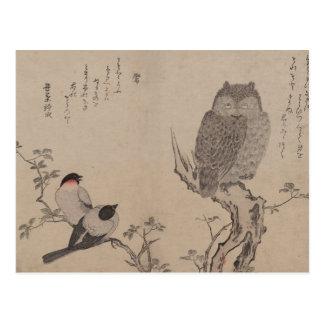 Bullfinch y búho de cuernos - Kitagawa Utamaro Postal