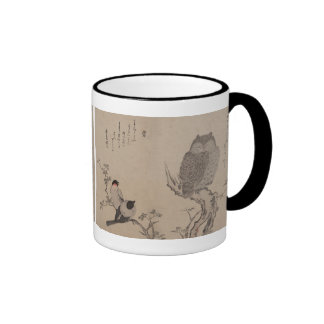 Bullfinch y búho de cuernos - Kitagawa Utamaro Tazas