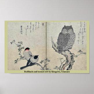 Bullfinch y búho de cuernos por Kitagawa, Utamaro Póster