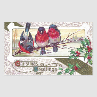 Bullfinches and Holly Vintage Christmas Rectangular Sticker