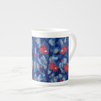 Bullfinches, birds art, blue and red colours tea cup