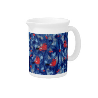 Bullfinches, fiberart, red birds in the blue trees pitchers