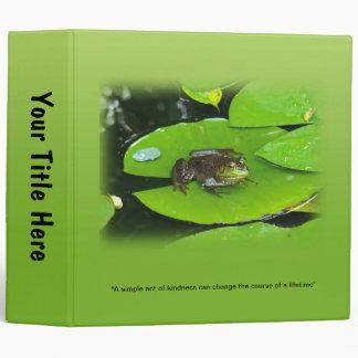 Bullfrog on Lilypads 3 Ring Binder