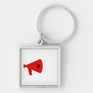 Bullhorn / Megaphone Silver-Colored Square Keychain