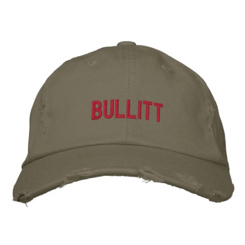 bullitt in red embroidered baseball hat