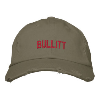 bullitt in red embroidered hats