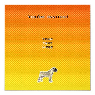 """Bullmastiff amarillo-naranja invitación 5.25"""" x 5.25"""""""