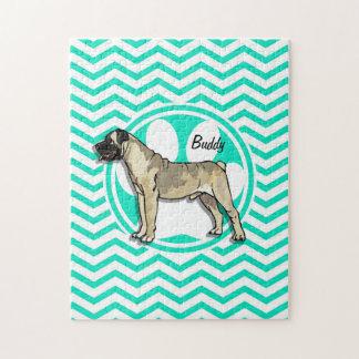 Bullmastiff; Aqua Green Chevron Jigsaw Puzzle