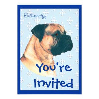 Bullmastiff - Blue w White Diamonds Design Custom Announcements