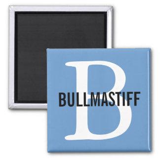 Bullmastiff Breed Monogram Design 2 Inch Square Magnet